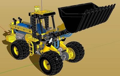 طرح سه بعدی بیل مکانیکی دراسکچاپ به صورت کامل (sketchup)