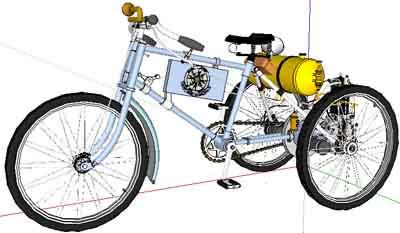 طرح سه بعدی سه چرخه دراسکچاپ به صورت کامل (sketchup)
